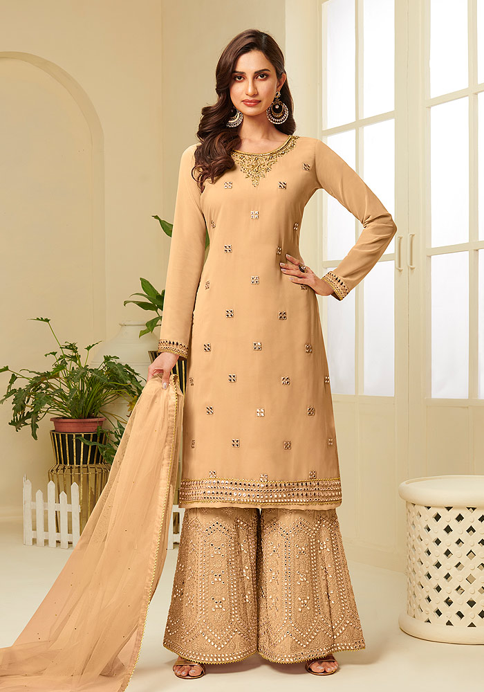 Yellow Embroidered Sharara suit