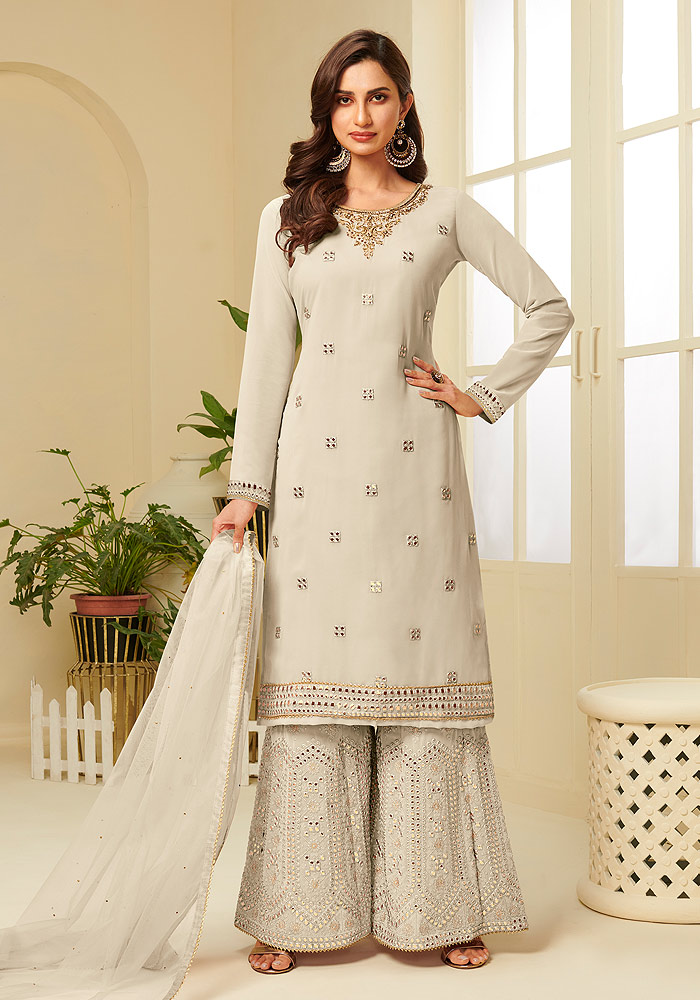 Cream Embroidered Sharara suit