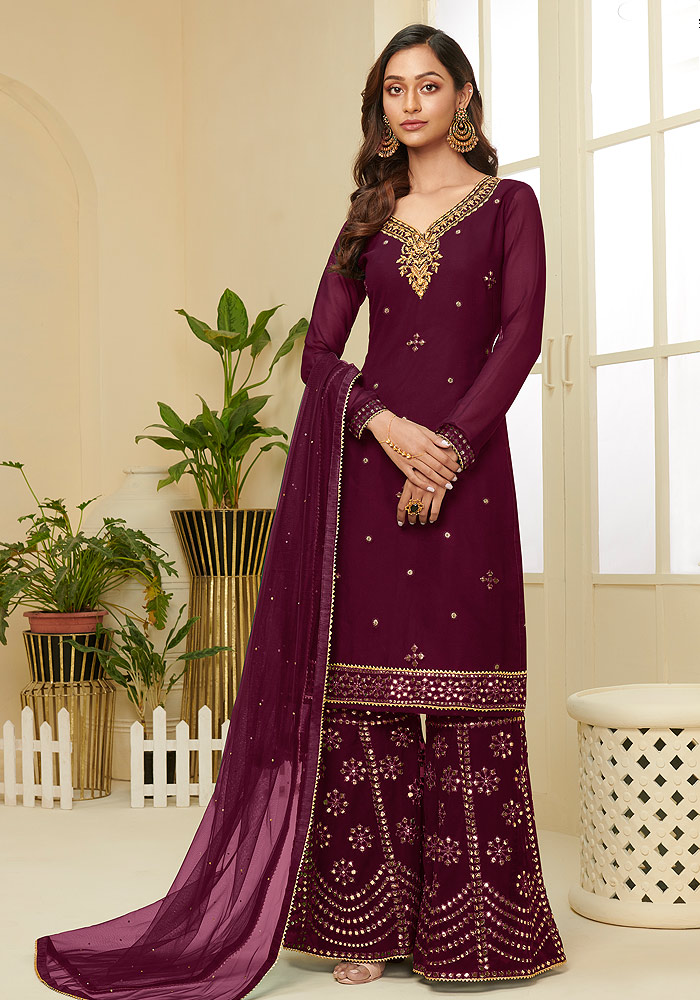 Wine Embroidered Sharara suit