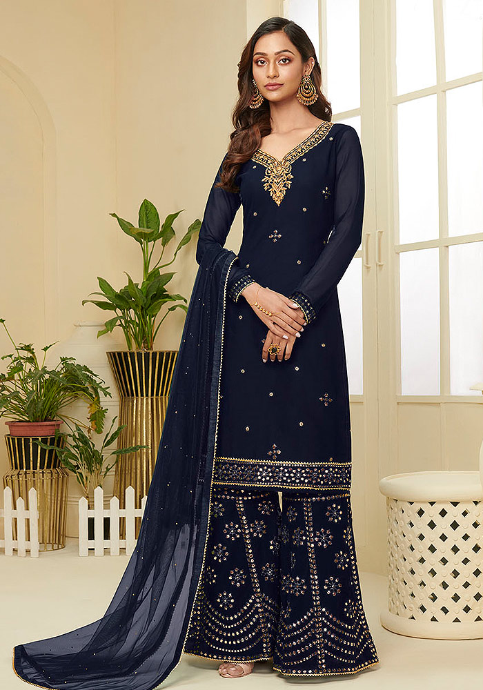 Navy Blue Embroidered Sharara suit