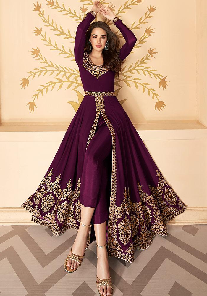 Purple  Embroidered Pant Style Anarkali