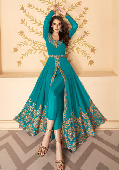 Rama  Embroidered Pant Style Anarkali