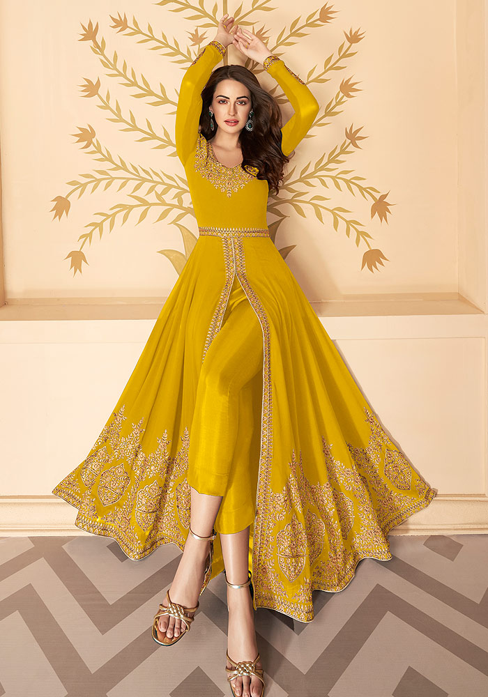 Yellow Embroidered Pant Style Anarkali