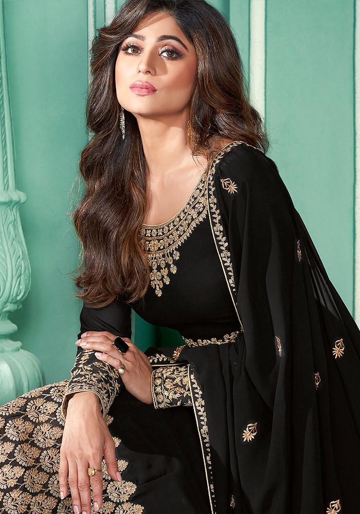 Black and Gold Embroidered Anarkali