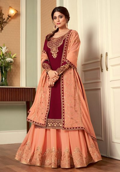Maroon and Peach Embroidered Lehenga Anarkali