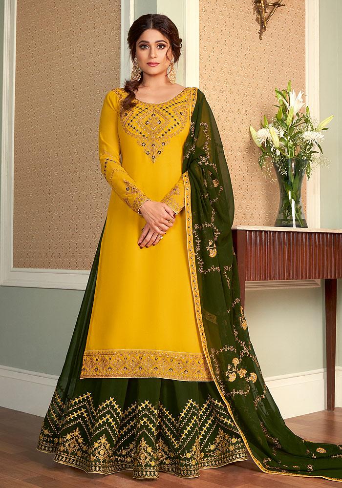 Yellow and Green Embroidered Lehenga Anarkali