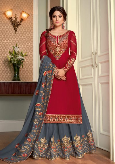 Red and Grey Embroidered Lehenga Anarkali
