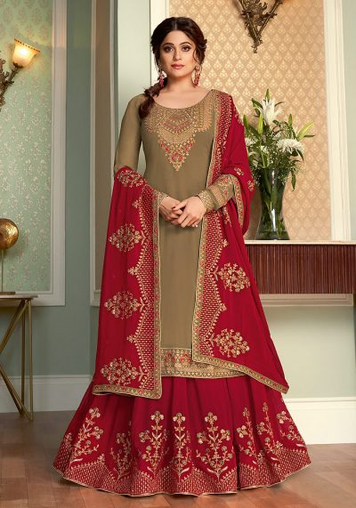 Light Green and Red Embroidered Lehenga Anarkali