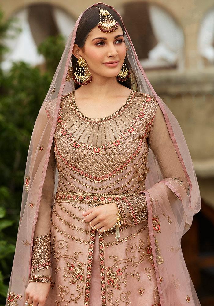 Light Pink Embroidered Lehenga Anarkali