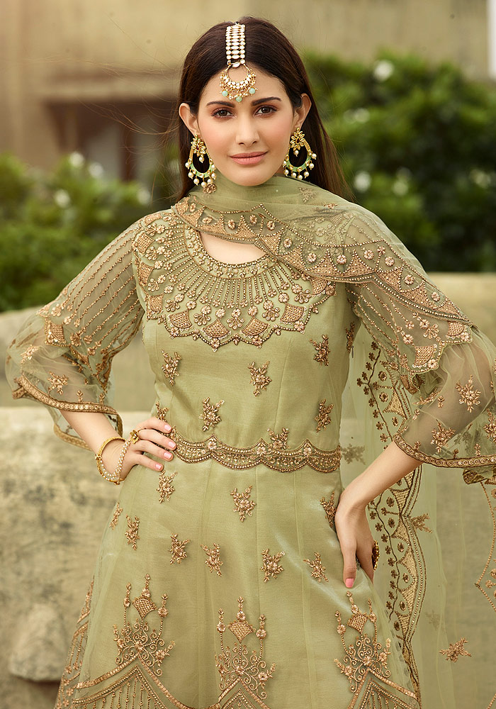 Green Heavy Embroidered Sharara
