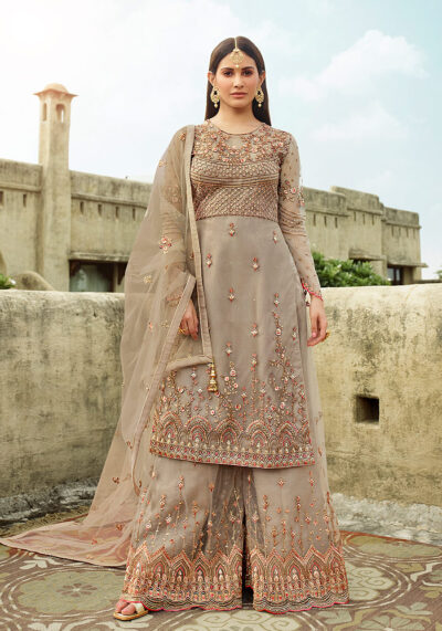 Grey Heavy Embroidered Palazzo Suit