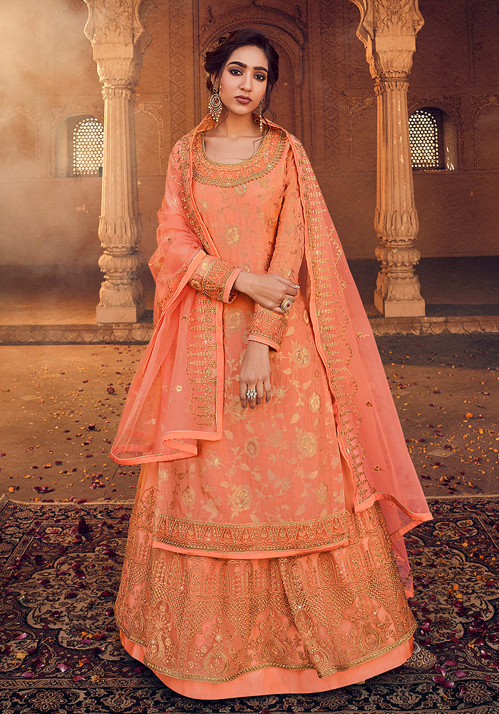 Peach and Gold Embroidered Lehenga Anarkali