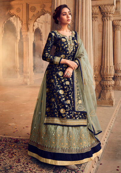 Blue and Green Embroidered Lehenga Anarkali