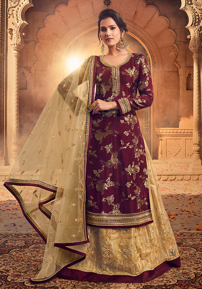 Maroon and Beige Embroidered Lehenga Anarkali