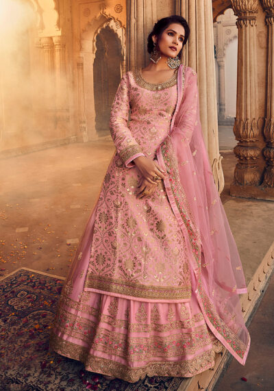 Light Pink and Gold Embroidered Lehenga Anarkali