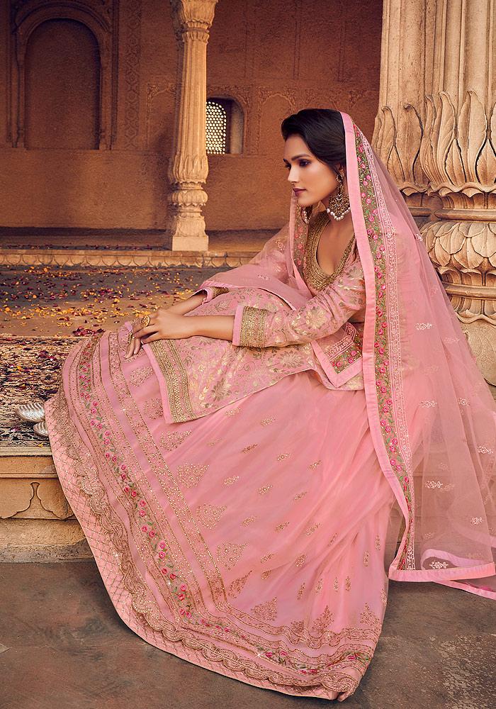 Light Pink and Gold Embroidered Lehenga Anarkali