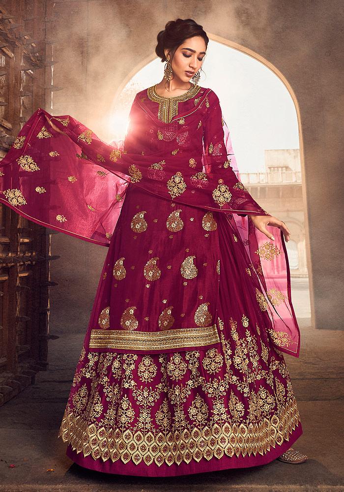Pink and Gold Embroidered Lehenga Anarkali