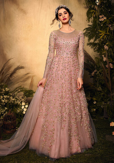 Light Pink Heavy Embroidered Anarkali
