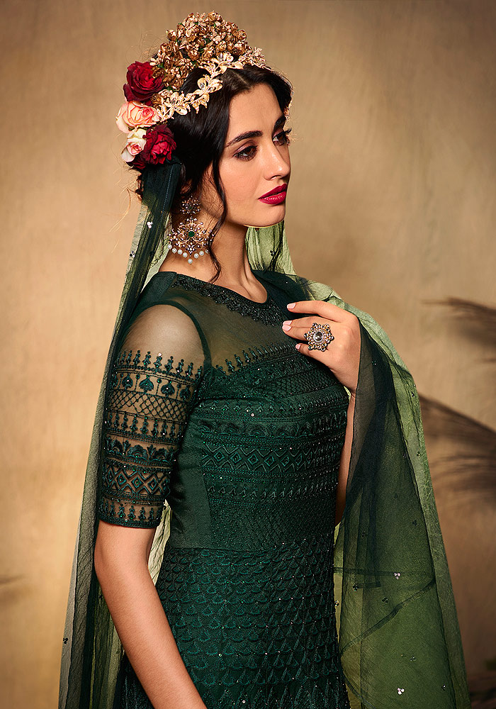 Dark Green Heavy Embroidered Anarkali