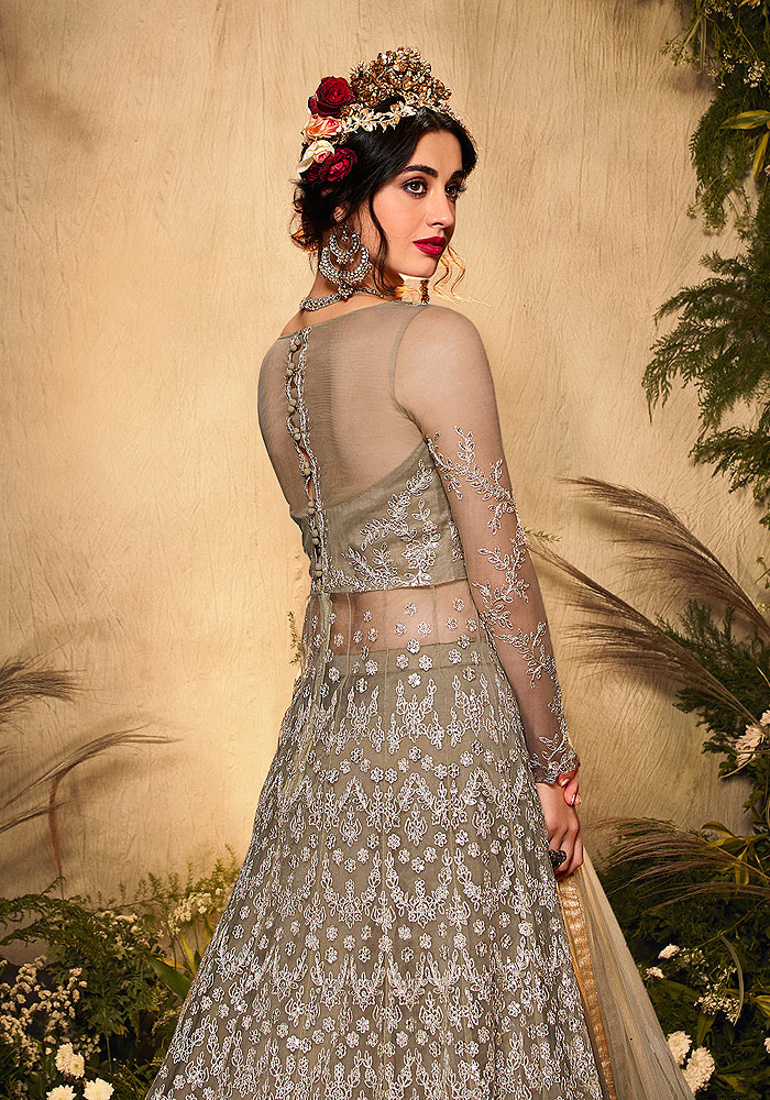 Grey Green Embroidered lehenga/ pant style Suit