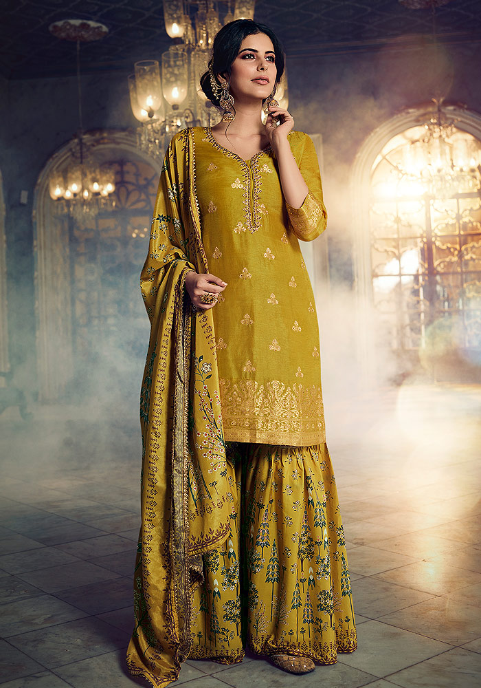 Mustard Yellow Embroidered Gharara Suit