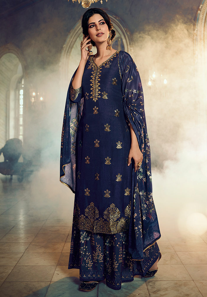 Blue Embroidered Plazzo Suit