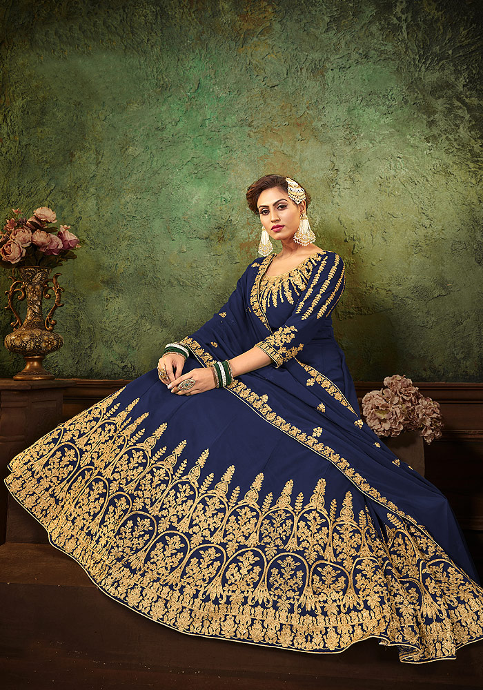 Blue Heavy Embroidered Anarkali