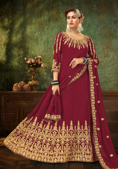 Pink Heavy Embroidered Anarkali