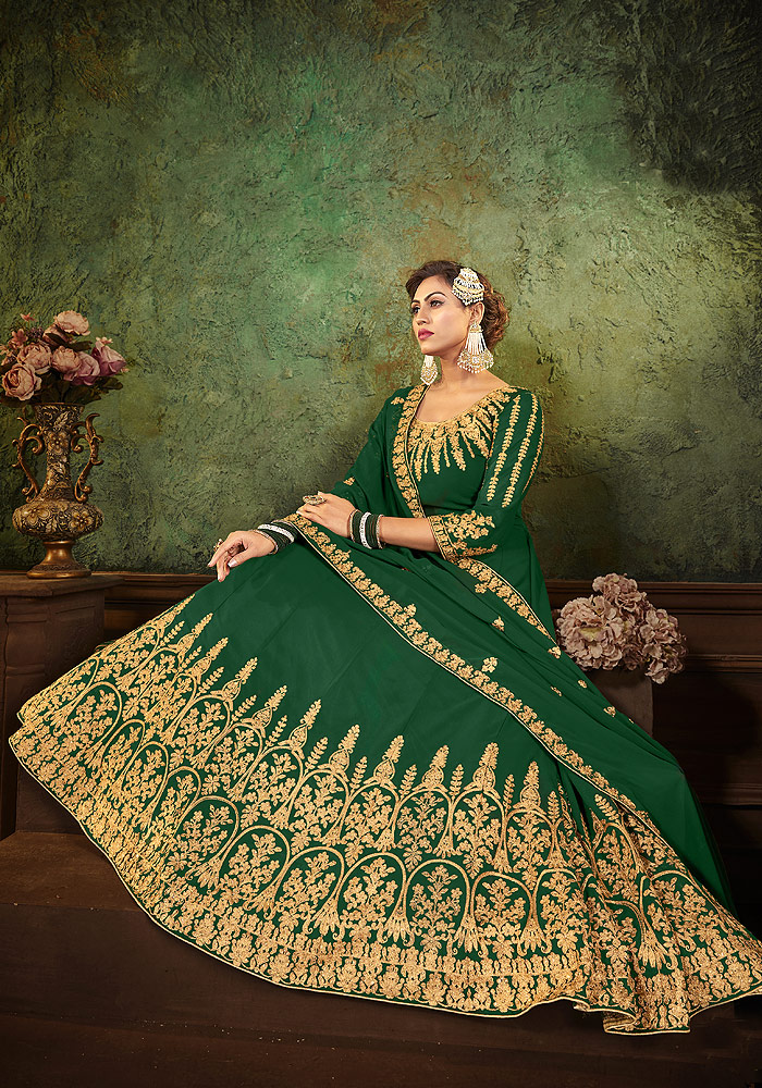 Green Heavy Embroidered Anarkali