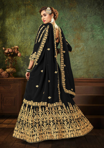 Black Heavy Embroidered Anarkali