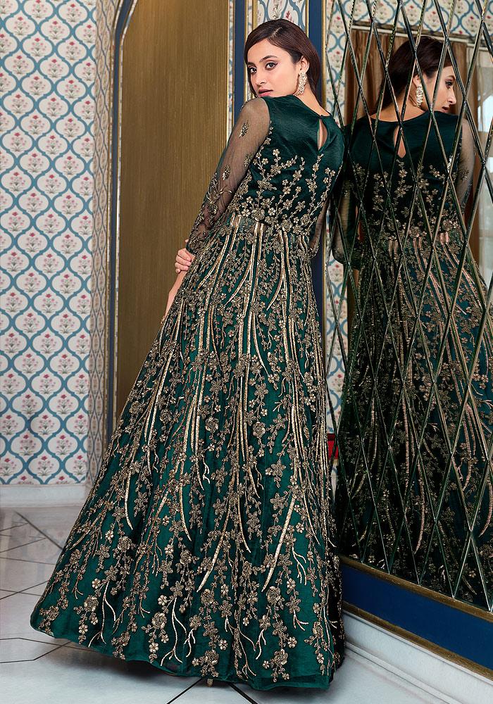 Dark Green Embroidered Lehenga + pant style Anarkali
