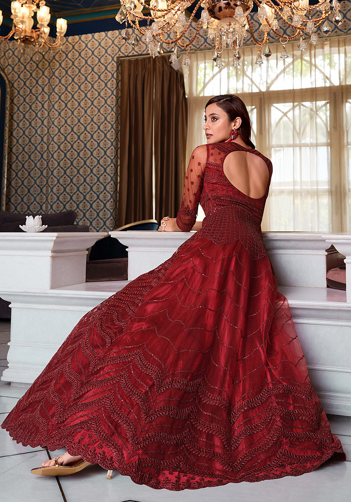 Maroon Embroidered Anarkali Gown