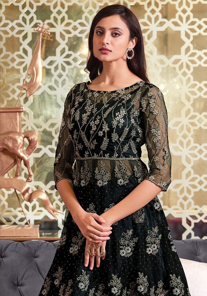 Black Embroidered Lehenga Anarkali