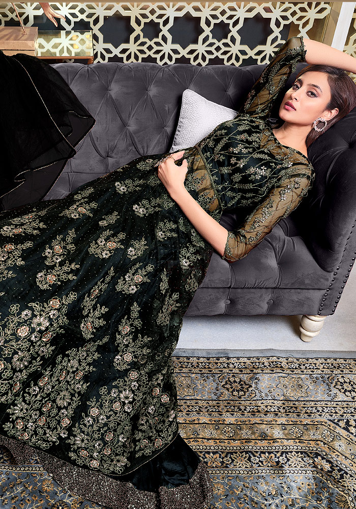 Black Embroidered Lehenga Anarkali
