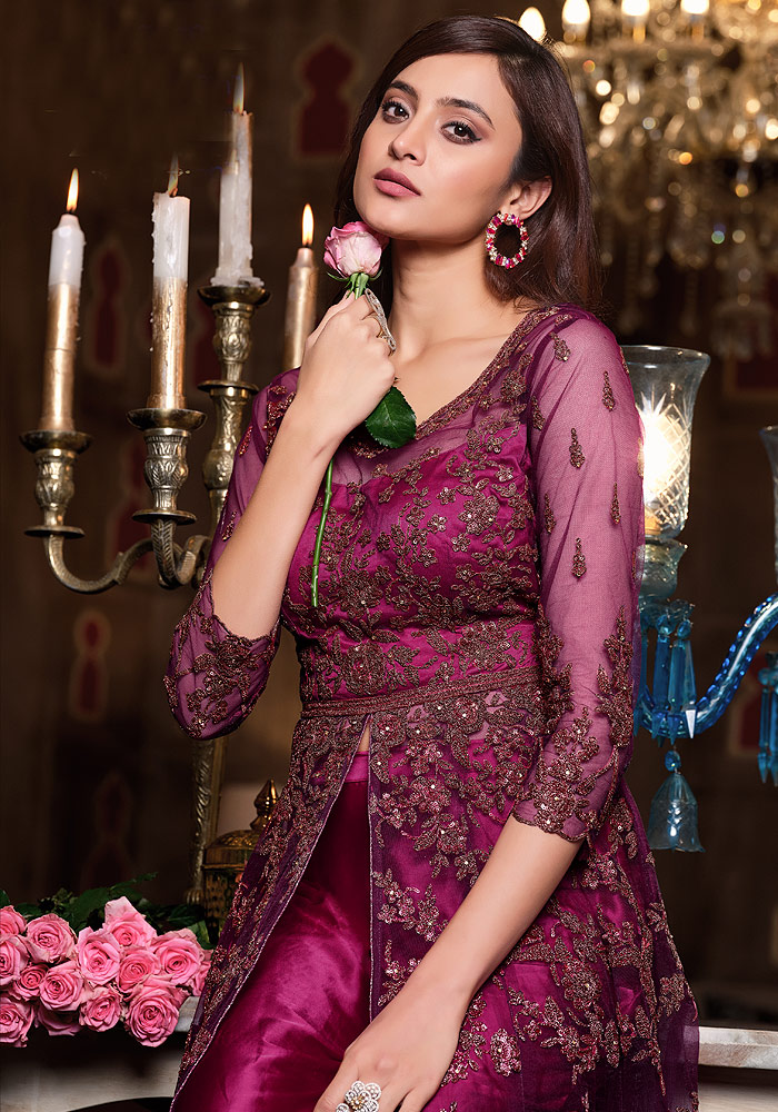 Hot Pink Embroidered Lehenga + Pant Style Anarkali