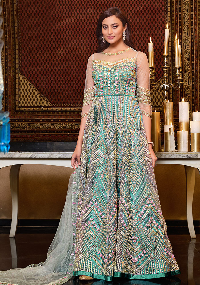 Mint Green Embroidered Anarkali Gown