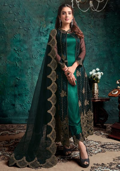 Black and Rama Green Embroidered Pant Suit