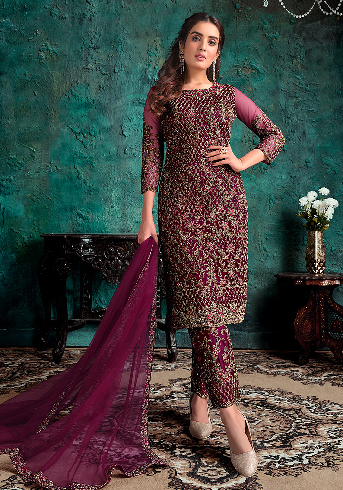 Maroon Wine Embroidered Pant Suit