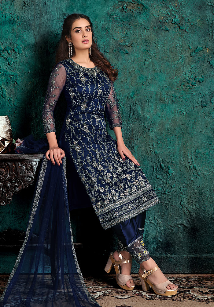 Navy Blue Embroidered Pant Suit