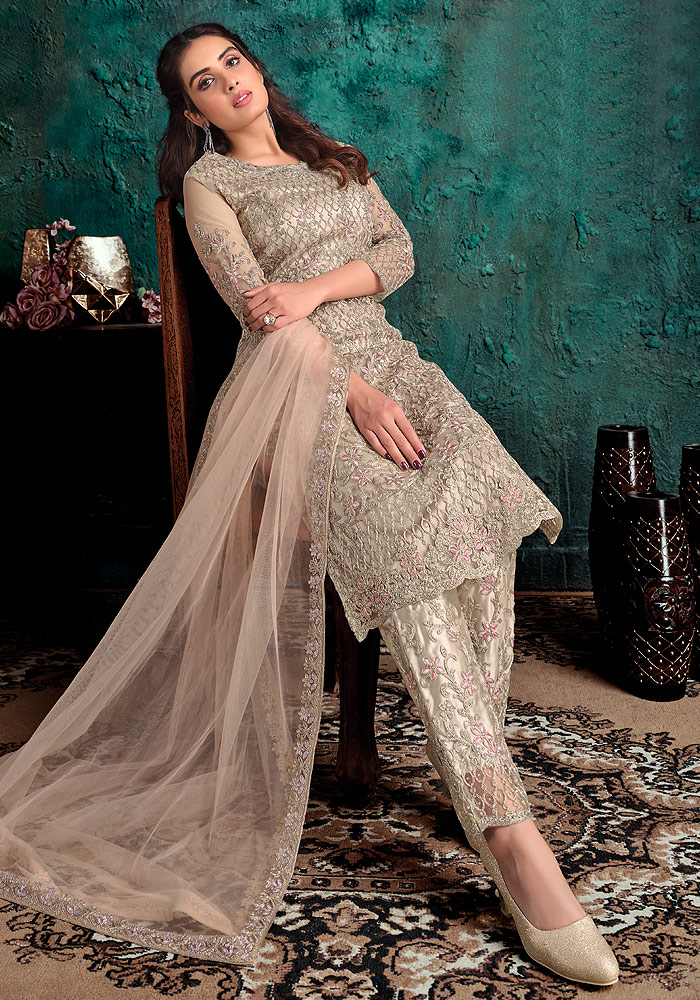 Beige Embroidered Pant Suit