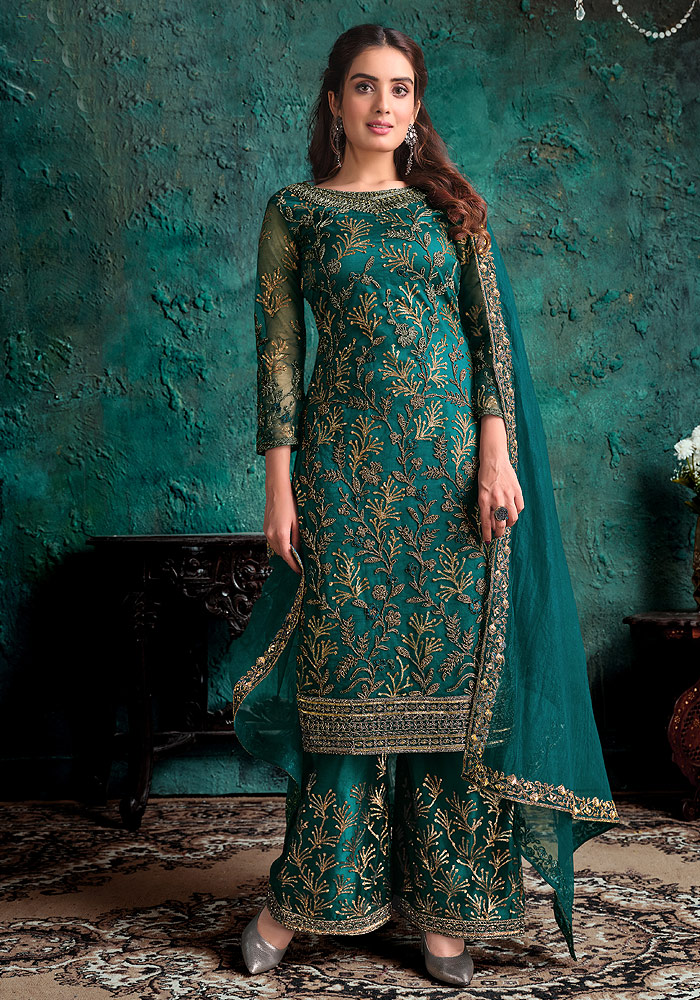 Peacock Blue Embroidered Pant Suit