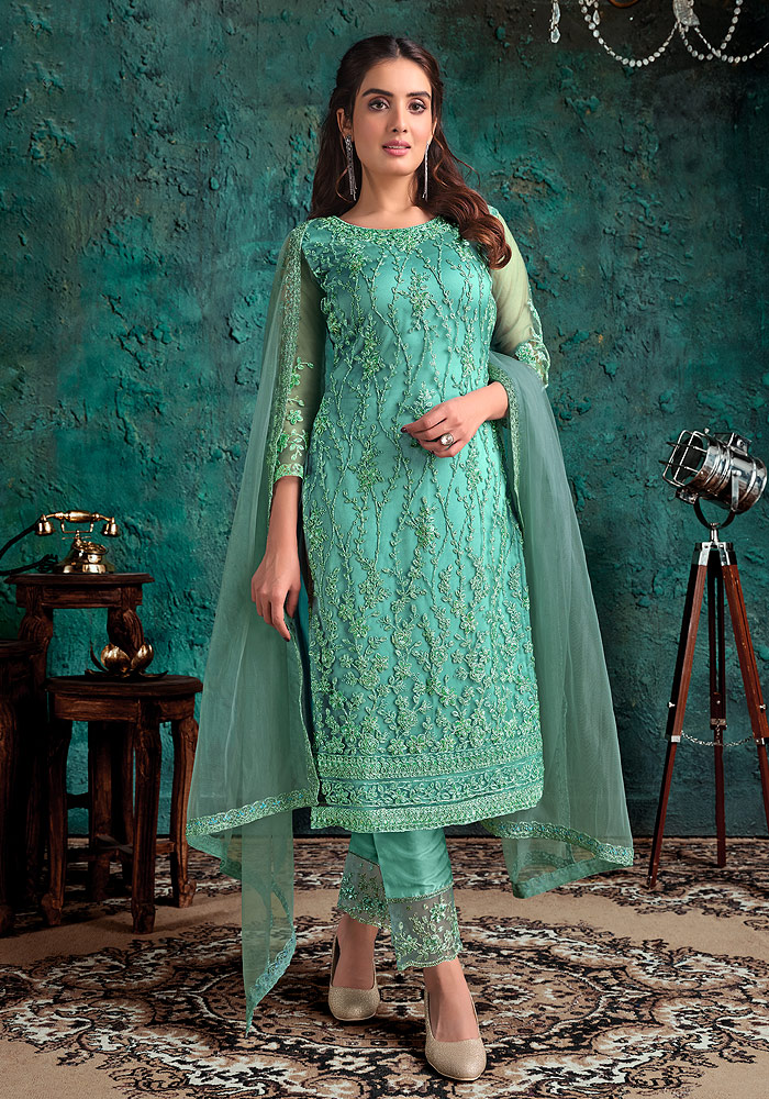 Mint Blue Embroidered Pant Suit