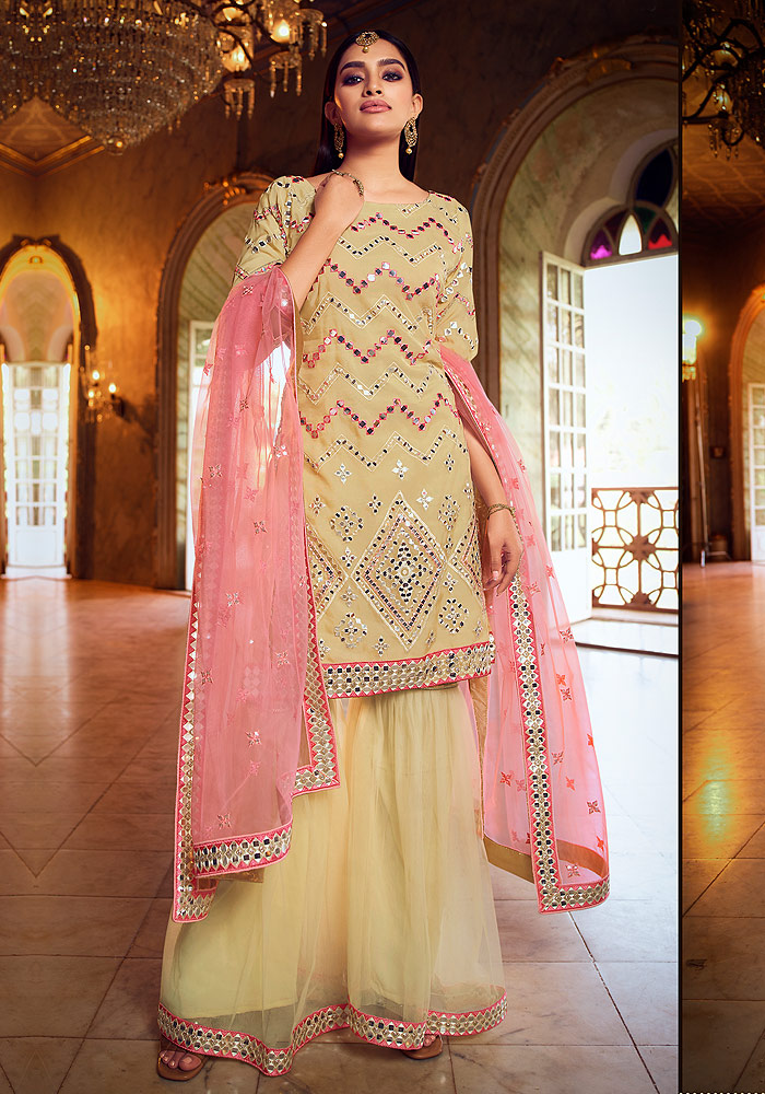 Beige Green Embroidered Gharara Suit
