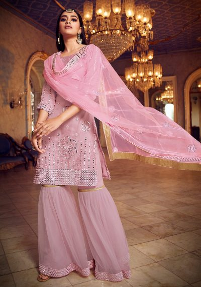 Baby Pink Embroidered Gharara Suit