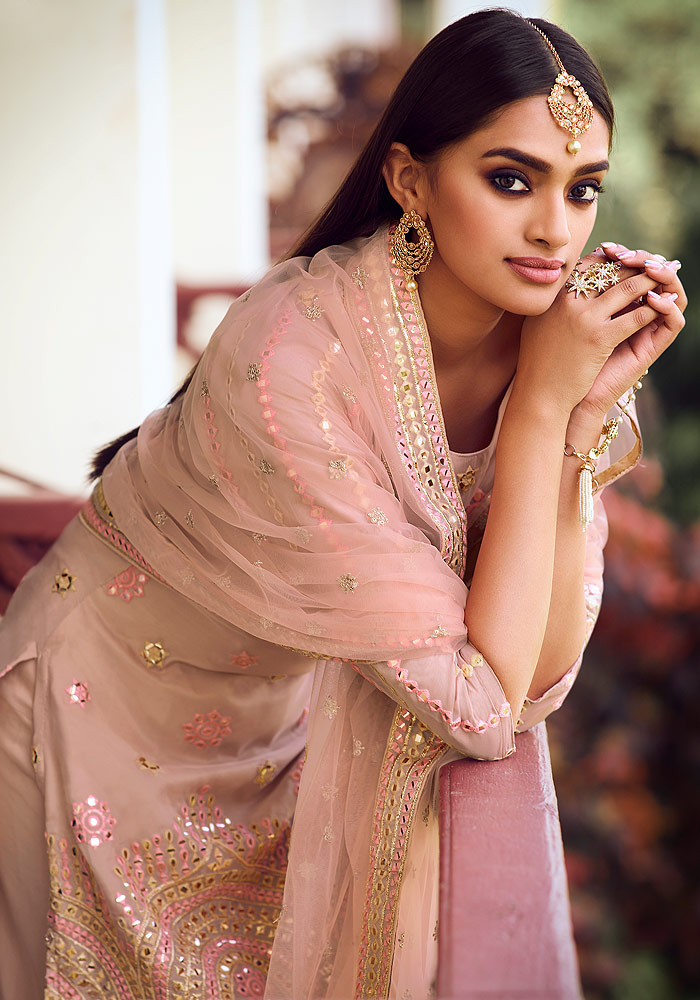 Light Peach Embroidered Gharara Suit