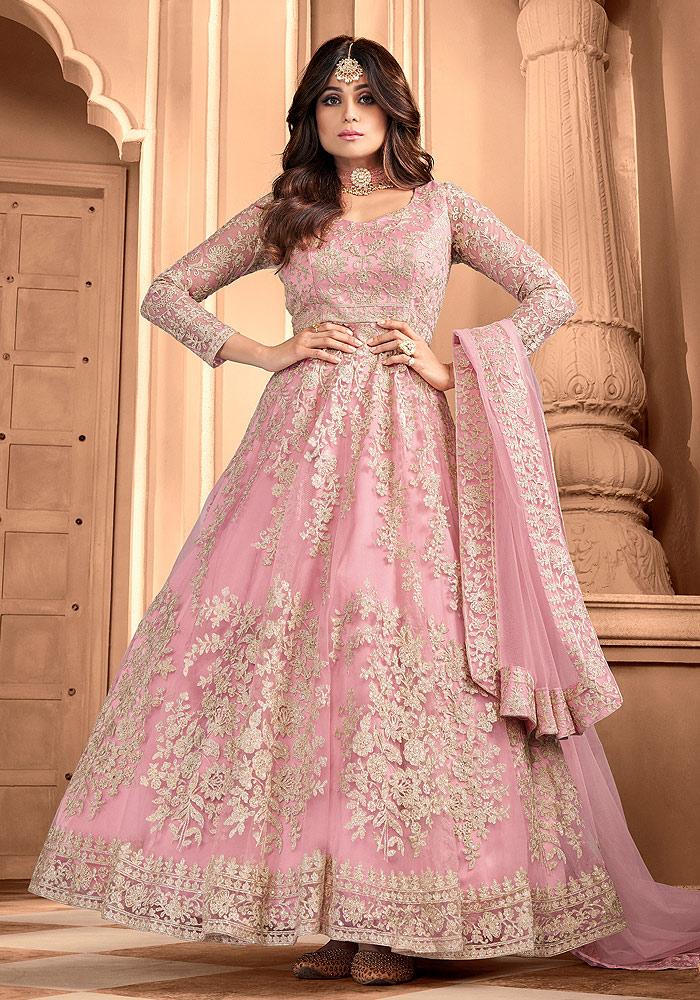 Pink Embroidered Net Anarkali
