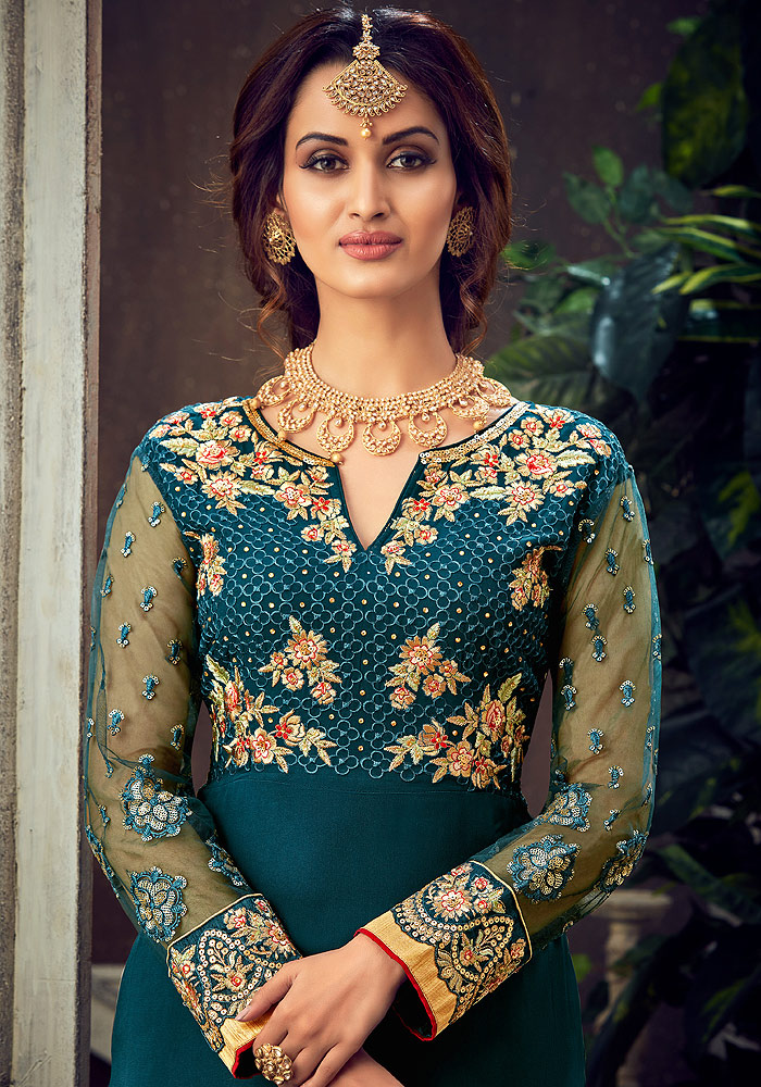 Teal and Green Embroidered Palazzo Suit