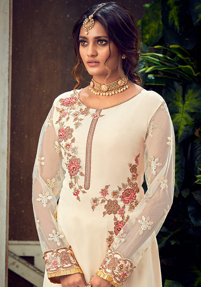 White and Pink Embroidered Palazzo Suit