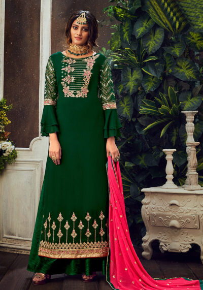 Green and Pink Embroidered Palazzo Suit