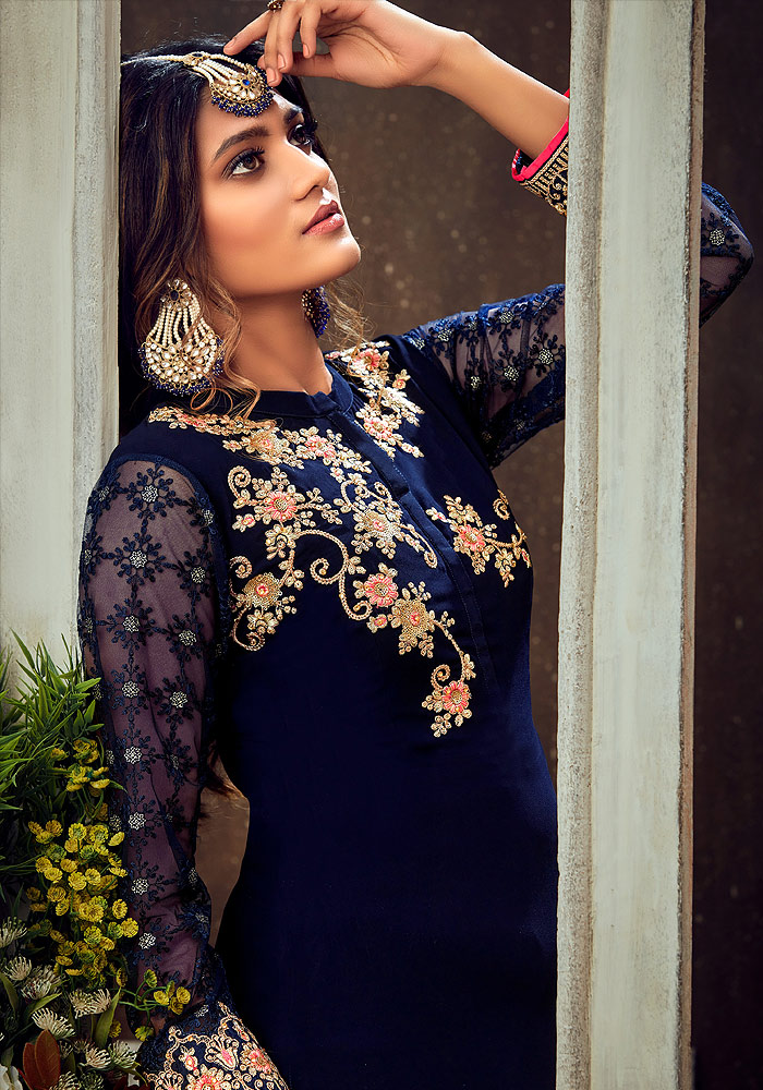 Dark Blue and Pink Embroidered Palazzo Suit